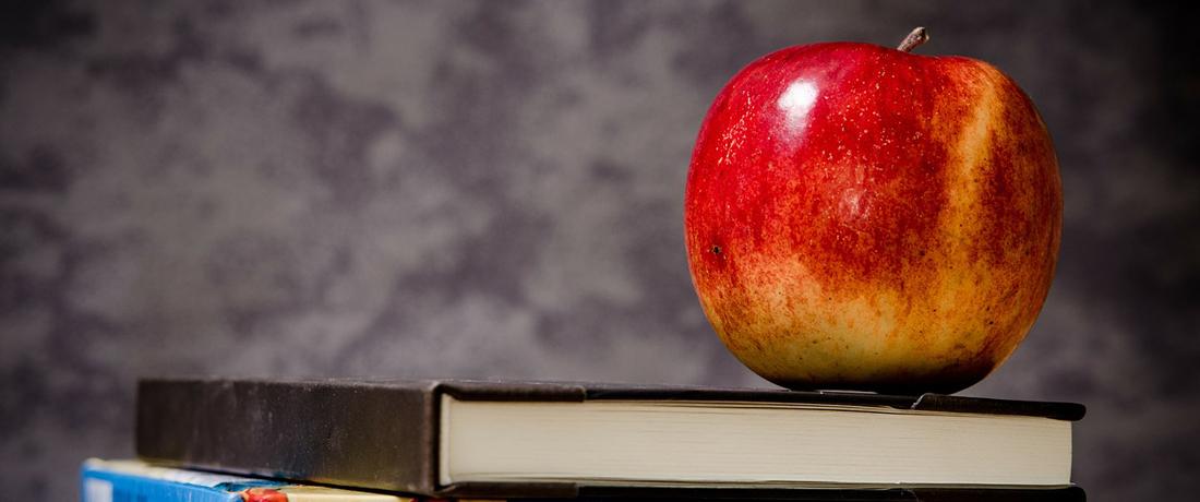 Apfel auf eine Buch